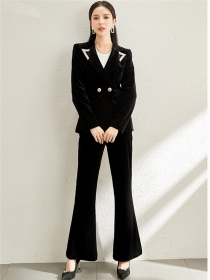 Elegant Lady Tailored Collar Velvet Slim Long Suits