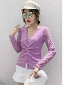 Korea Stylish 4 Colors V-neck Hollow Out Lace Blouse