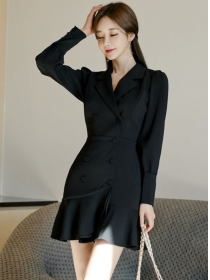 Korea OL Double-breasted Tailored Collar Fishtail Slim Dress