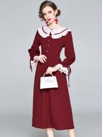 Lovely Retro Doll Collar Puff Sleeve A-line Long Dress