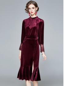 Retro Fashion High Waist Fishtail Bodycon Velvet Dress