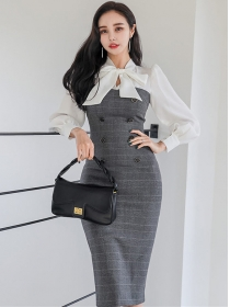 Grace OL Tie Bowknot Collar Double-breasted Slim Dress