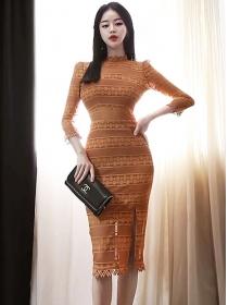 Retro Grace Fitted Waist Lace Split Skinny Dress