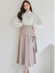 Modern OL Puff Sleeve Loosen Blouse with Flouncing Long Skirt