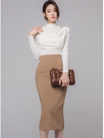 Grace Lady Heaps Collar Knitting Tops with Slim Midi Skirt