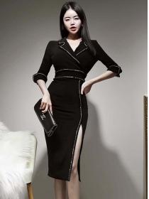 Modern Lady Tailored Collar Fitted Waist Split Slim Dress