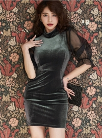 Wholesale Stylish Gauze Sleeve Backless Velvet Slim Dress