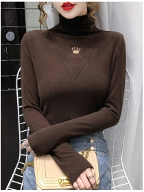 Wholesale 3 Colors Stand Collar Flocking Thick T-shirt