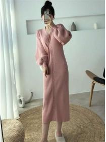 Wholesale Korea 3 Colors Single-breasted Puff Sleeve Knit Dress