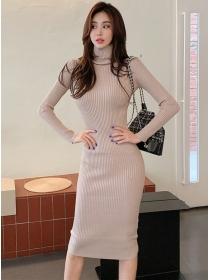Wholesale Korea Stand Collar Slim Knitting Long Sleeve Dress