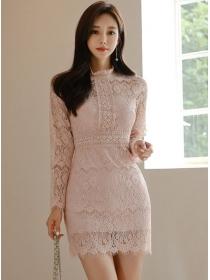 Fashion Lady Lace Flowers Slim Long Sleeve Dress