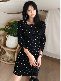 Wholesale Korea Square Collar Dots Long Sleeve Dress