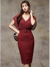 Korea Stylish Fitted Waist V-neck Batwing Bodycon Dress