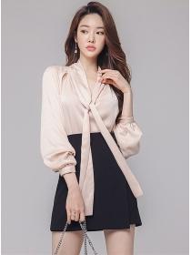 Korea OL Tie Collar Puff Sleeve Blouse with Short Skirt