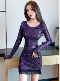 Wholesale Sexy 2 Colors Round Neck Pleated Shining Dress