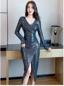Sexy Wholesale 2 Colors V-neck Split Sequins Dress