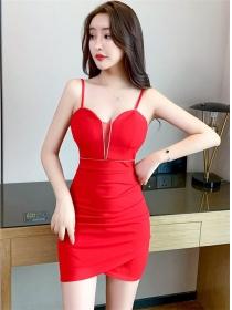 Pretty Sexy 2 Colors Gauze V-neck Straps Slim Dress