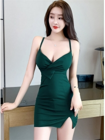 Wholesale Sexy 3 Colors Pleated Low Bust Straps Slim Dress