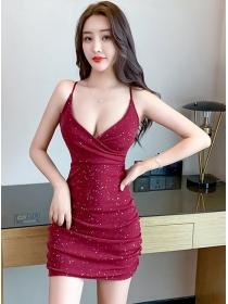 Sexy Lady 2 Colors V-neck Sequins Slim Straps Dress