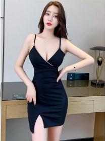 Sexy Club 2 Colors Low V-neck Straps Short Dress