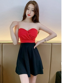 Wholesale Sexy 2 Colors Strapless Short A-line Dress