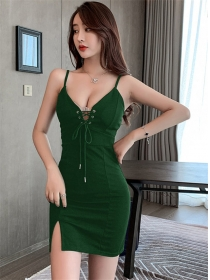 Sexy Lady 3 Colors Tie Low Bust Straps Skinny Dress