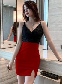 Pretty Sexy 2 Colors Lace V-neck Splicing Straps Dress