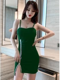 Sexy Fashion 3 Colors Rhinestones Straps Skinny Dress