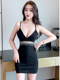 Wholesale Sexy Low Bust Gauze Tassels Straps Dress