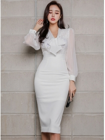 Grace Fashion Tie Collar Lace High Waist Bodycon Dress