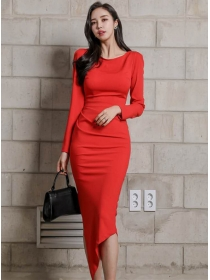Vogue Korea Fitted High Waist Bodycon Sloping Dress