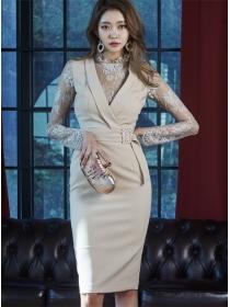 Grace Lady Fitted Waist V-neck Lace Splicing Slim Dress