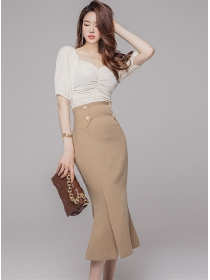 Modern Lady Boat Neck Knitting Tops with Fishtail Skirt