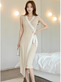 Wholesale Korea Tie Waist V-neck Bodycon Tank Dress