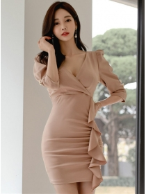 Korea Stylish V-neck Flouncing Pleated Slim Dress