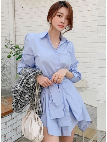 Fashion Lady Shirt Collar Tie Waist Flouncing A-line Dress