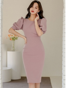 Modern Lady Round Neck Puff Sleeve Backless Bodycon Dress