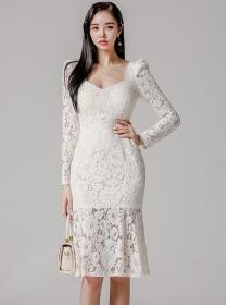 Grace Fashion Square Collar Fishtail Lace Slim Dress