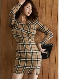 Classic Fashion V-neck Plaids Long Sleeve Slim Dress