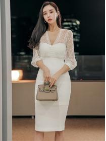 Grace Fashion Gauze V-neck Splicing Bodycon Dress