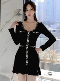 Korea Stylish Woven Round Neck Fishtail Slim Dress