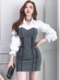 Wholesale Fashion Tie Waist Color Block Puff Sleeve Dress