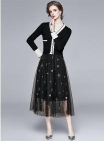 Korea Stylish Buttons V-neck Knitting T-shirt with Gauze Skirt
