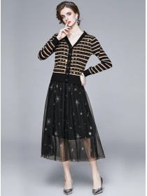 Europe Spring Stripes Knitting Tops with Embroidery Gauze Skirt