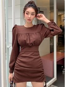 Fashion Spring Draw-string Pleated Long Sleeve Dress