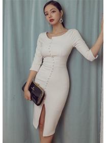 Modern Lady Round Neck Fitted Waist Skinny Dress