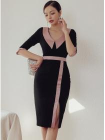 Elegant Lady Color Block Doll Collar Split Slim Dress