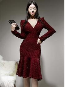 Retro Korea V-neck Fishtail Shining Long Sleeve Dress