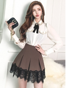 Hot Selling Doll Collar Blouse with Lace Pleated A-line Skirt