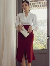 Modern OL Shirt Collar Blouse with Split Fishtail Skirt